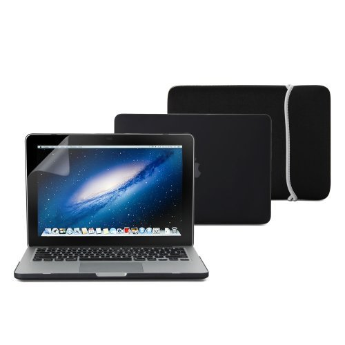 """Keyboard Cover Bag LCD 4 IN 1 Macbook Air 13/"""" Black Rubberized Hard Case"""